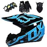 Casco Motocross Niño 5~12 Años ECE Homologado Casco Moto Integral Unisex para Moto Cross Descenso Enduro MTB Quad BMX Bicicleta (Gafas+Máscara+Guantes) con Diseño Fox - M-01 - Brillante Negro Azul,S