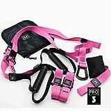 AUBERSIT Bänder Pilates, Widerstandsbänder, Fitness-Hängegürtel-Trainer, Fitness-Trainings-Aufhängungsbänder, Übungszugseil, das elastische Gurte dehnt,P3 Pro Pink