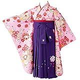 [京のみやび]卒園式 七五三 女の子着物袴セット 小紋 ちょっと小さめ ピンク 疋田に雪輪/紫刺繍 60cm