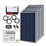 HQST 600 Watt 12 Volt Polycrystalline Solar Panel Kit with 40A MPPT Charge Controller, 6 Sets of Z Brackets, 20FT 10AWG Cable from Panel to Controller, 8ft 8awg Tray Cable, LCD Display