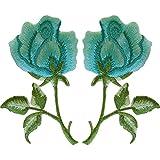 Par de parches de rosa verde turquesa para planchar o coser con flores bordadas