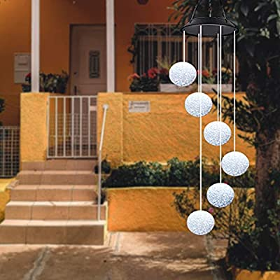 SURENSHY Wind Chimes LED Solar Wind Chimes and Crystal Ball Wind Chimes for Outside Suitable for Courtyards,Terraces,Gardens,Gift for Grandma,Mom,Women