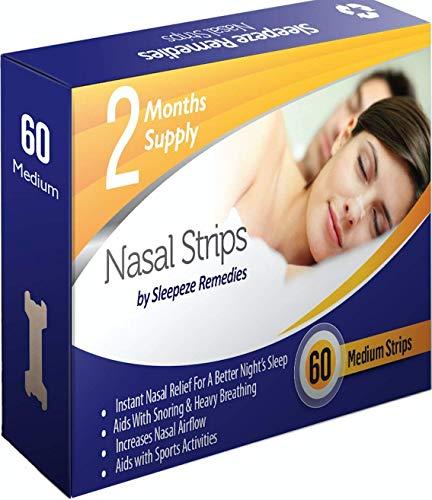 Nasenpflaster mittel x60 | Sleepeze Remedies® Nasenstrips stoppen das Schnarchen und helfen Ihnen direkt durch die Nase zu atmen | Premium Qualität Nasenpflaster Schnarchstopper (x60 Neu)