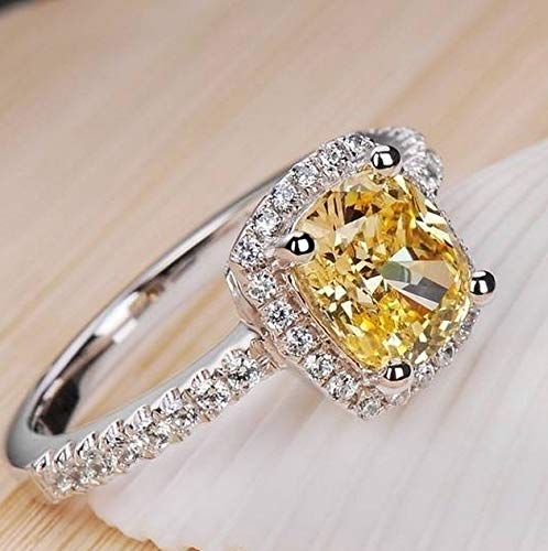 LARDROK (Size US 5 ~ 9 ) Wedding Birthstone Bride Engagement Yellow/Clear Ring 925 Sterling Silver Plated Ring Gifts