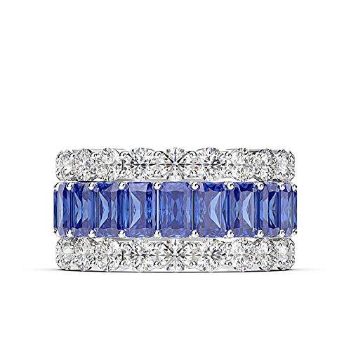 Sieraden High-sense Simulatie Boor Zirkoon Vuur Kleur Treasure Ring Vrouwelijke Temperament Micro-set Diamant Zirkoon Ring Nummer 8 Blauw