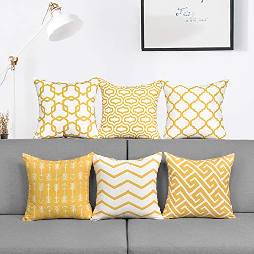 Alishomtll 6er Set Kissenbezug Outdoor Kissenhülle Geometrische Muster Zierkissenbezüge Deko für Couch Zimmer Polyester 45 x 45 cm, Gelb