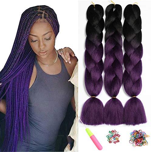 Ombre Jumbo Zöpfe Haar Flechten Haar Kanekalon, ShowJarlly Synthetische Haarverlängerungen 24 inch (60 cm) 300g / 3Pcs, 2 Ton (Schwarz/lila)