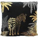 MIK Funshopping Kuschel-Kissen Dekokissen Tropical Jungle mit Allover-Print 40x40 cm (Zebra)