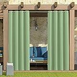 TZCC Vorhänge im Freien, 52 * 84 Zoll perforierte wasserdichte Vorhangplatten, ultraweite Blackout-Terrasse-Vorhänge, verwendet für Veranda, Pergola, Pavillon, überdachte Terrasse.