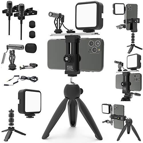 DREAMGRIP SCOUT MOJO Kit de plataforma modular con 3 micrófonos, luz LED y accesorios ALL-IN para producción de video con CUALQUIER teléfono inteligente para periodistas, YouTubers