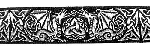 10m Keltische Borte Webband 35mm breit Farbe: Schwarz-Silber von 1A-Kurzwaren 35027-swsi
