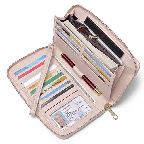Women Wallet Large Capacity Leather Zipper Around Clutch Card Holder Organizer Ladies Travel Purse with Removable Wristlet Strap Pink
