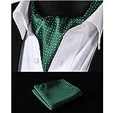 ZorYer Papillon Scarf Completo da Abito Fazzoletto da Taschino Quadrato con Cravatta in Seta a Pois Bianco Verde Set S419-A