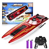 Zuhafa RC Boat for Pools and Lakes, 2.4 GHz High Speed 4 Channel Remote Control Boat for Kids and Adults 40 Mins Working Time Low Battery Alarm Toys Gift for Boys Girls