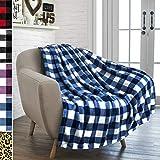PAVILIA Buffalo Check Fleece Throw Blanket | Blue White Checkered Plaid Flannel Blanket | Soft Velvet Lightweight Microfiber Blanket for Couch Sofa | 50x60 Inches Checker Navy