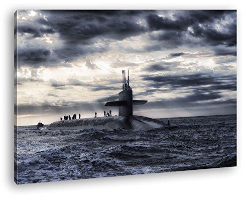 deyoli Militär U Boot auf offener See Format: 80x60 als Leinwandbild, Motiv fertig gerahmt auf Echtholzrahmen, Hochwertiger Digitaldruck mit Rahmen, Kein Poster oder Plakat