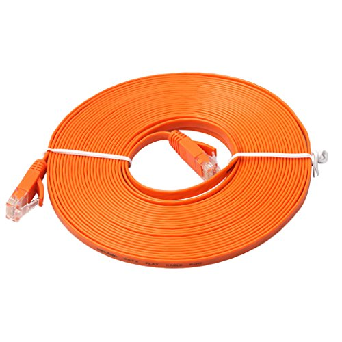 Lan Kabel - Cable Ethernet plano (8 m, Cat6, Gigabit Lan, RJ45, 1 Gbps, STP, para conmutador, router, módem, panel de conexiones, punto de acceso, plano), color negro