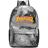 T-Thrasher Flame Laptop Backpack Fashion Travel Daypack Galaxy Canvas Backpack