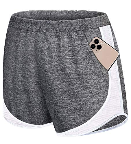 Koscacy Running Shorts Women,Cycling Short Performance Cool-Dri Stretchy Active Wear High Elastic Waist Summer Basketball Soccer Clothes Cord Yoga Clothing Dark Grey L