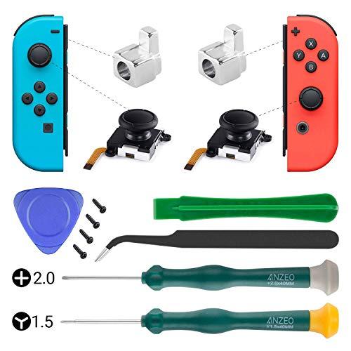Joystick analógico de reemplazo con joystick 3D para Nintendo Switch Joy-Con Controller con Y1.5 +2.0 Destornillador, Pry Tools, 2pcs Joy Con Metal Lock Buckle