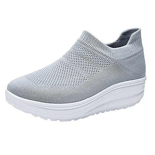 BIBOKAOKE Zapatillas de mujer con plataforma con cuña, deportivas, para el tiempo libre, para caminar, para mujer, ligeras, zapatillas deportivas, gris, 37 EU