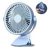 LLEH Ventilador con Clip para Silla de Paseo, Ventilador con batería Recargable, Ventilador USB de circulación rápida de Aire de 3 velocidades para Interiores y Exteriores - Rotación de 360 °,Azul