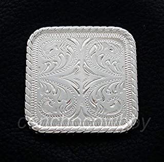 Leathercrafts/Accessories/Western Saddle Headstall Horse TACK Bright Silver Rope Edge Concho Screw Back(Size:2-1/4)
