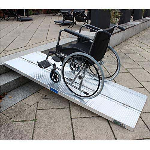 Trutzholm Rollstuhl Rampe Rollstuhlrampe Aluminium klappbar 213 cm bis 270 kg mobil faltbar Flachrampe