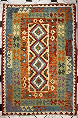 Alfombra oriental afgana, hecha a mano, de lana, colores naturales, estilo afgano, turco, nómada persa, tradicional, 130 x 177 cm, estilo vintage, pasillo y escalera reversible