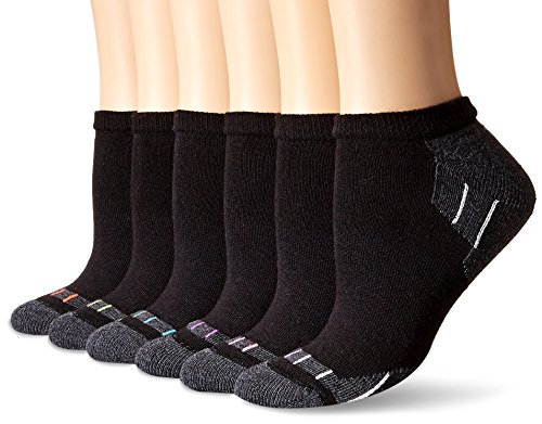 Hanes Plus Women's 6-Pack Sport Cool Comfort No Show, black/Dark Charcoal Heather Assortment, Shoe Size: 8-12