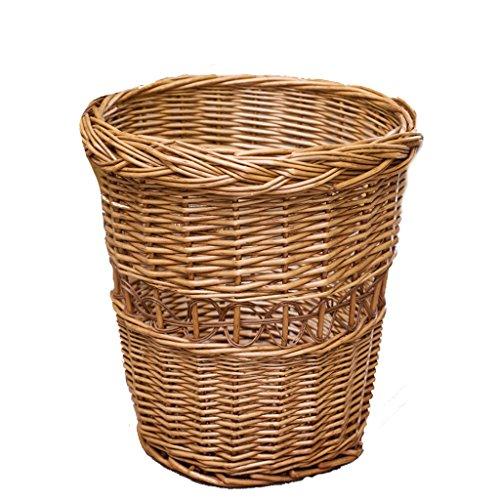 Cubos de basura Cesto de basura creativo de bambú cesto de almacenamiento en el hogar canasta de almacenamiento de mimbre tejida papelera cesta de almacenamiento hecho a mano sin tapa Cubos de basura