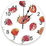 XXNZZJ Co.,ltd Strawberry Berries PVC Reloj de Pared Decorac