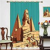 Cortina de ventana egipcia, diseño vintage de esfinge y pirámides en Giza, con ojales de El Cairo, 132 x 213 cm, para habitación infantil, color marrón claro