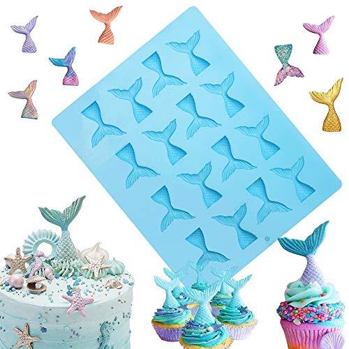 Sakolla 16 Cavity Mermaid Tail Silicone Mold for Fondant, Cake Decoration, Chocolate, Soap, Candy, Jello, Cupcake Topper, Gumpaste, Clay, Ice,