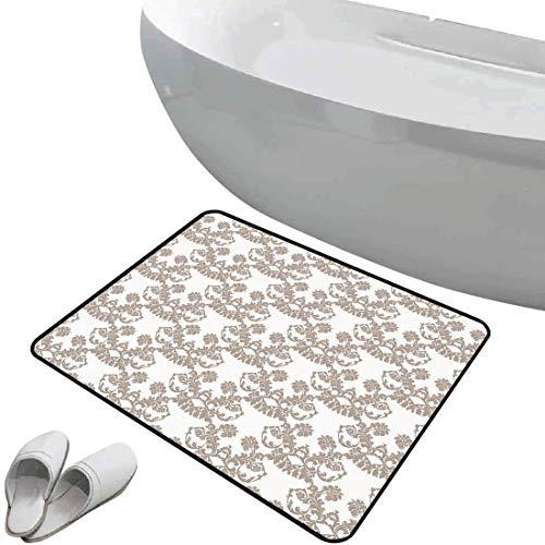 Alfombra de baño antideslizante Gris pardo suave antideslizante Estilo Rococó Flores Florecientes...