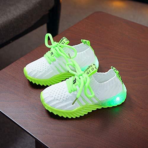 LED Sport Schuhe für Kinder,Candy Farbe LED Licht Lampe Freizeitschuhe Sportschuhe Helle Helle Schuhe,Mädchen Jungen Sneakers Laufschuhe Turnschuhe Blinkschuhe Schuhe Für Mädchen (Grün, 21)
