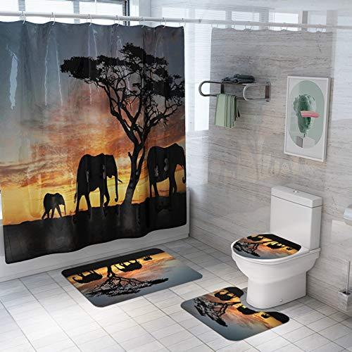 YYZ Wasserdichter Duschvorhang 4-teiliges Set, Elefanten-, Baum- & Sonnenuntergangs-Duschvorhang & Badematte Vierteiliges Set mit 12 Haken (180 cm × 180 cm)