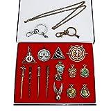 Zauberer Zauberstab Set Cosplay Spielzeug für Kinder mit Schlüsselbund, Halskette, Schulabzeichen...