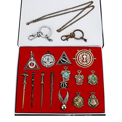Zauberer Zauberstab Set Cosplay Spielzeug für Kinder mit Schlüsselbund, Halskette, Schulabzeichen und Ringen, Dumbledore Voldemort Zauberstab In Einer Geschenkbox (15 Teile/Satz)