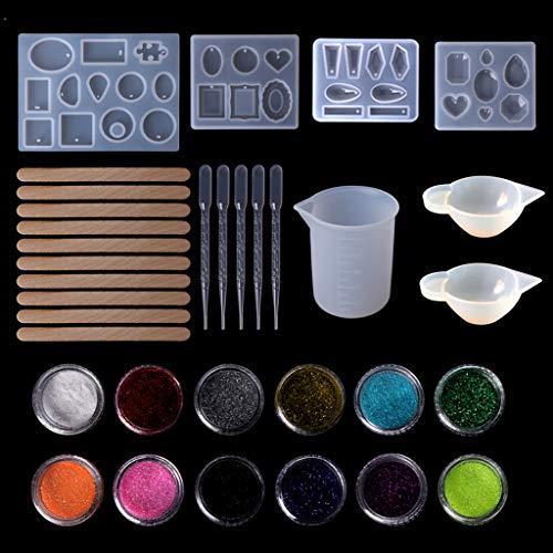 Ycncixwd moldes de Resina de Silicona, Vaso medidor, pipeta, Pendientes, Colgante, joyería, Herramientas