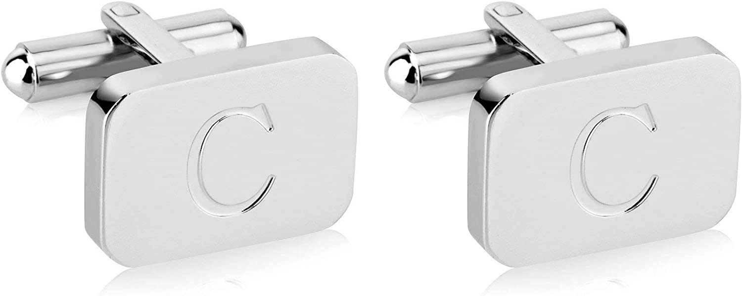 18K White-Gold Plated Initial Men' Quantity limited Stainless Steel Engraved Memphis Mall