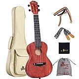 Winzz Ukulele Koncert 23 Zoll, Ukulele Erwachsene Anfänger Set mit Ukulele Kapodaster, Ukulele Gurt, Ukulele Tasche und Poliertuch (Rot)