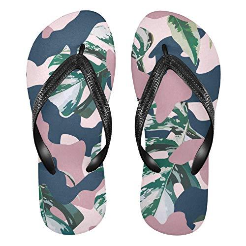 Linomo Sandalias de playa de verano con diseño de camuflaje y hojas tropicales para mujer, color, talla 34.5/37 EU
