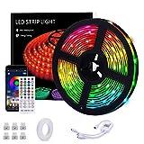 LED Strip 5M, Teaisiy Led Streifen RGB Flexible Led Lichterkette mit App Bluetooth Kontroller Sync zur Musik und 40 Tasten IR Regler LED Band, Anwendung für Schlafzimmer, Party und Feriendekoration