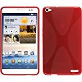 PhoneNatic Hülle kompatibel mit Huawei MediaPad X1 - rot Silikon Hülle X-Style + 2 Schutzfolien