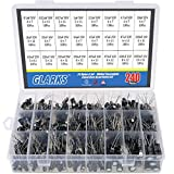 Glarks 240Pcs 24 Value 10V 16V 25V 50V Metal Electrolytic Capacitors Assorted Assortment Kit Set, Lable Capacitor Range 0.1UF - 1000UF