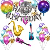 70s Disco Party Decorations with Latex Balloons,Mylar Foil Disco Ball Balloons,Saxophone Guitar Balloons,Happy Birthday Balloons Banner for Birthday DJ Bar Karaoke 1980s 60's Hippie Party Decorations