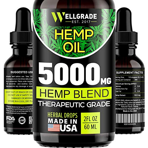 Hemp Oil for Anxiety Relief - 5000 MG - Premium Seed Grade - Natural Hemp Oil for Better Sleep, Mood...