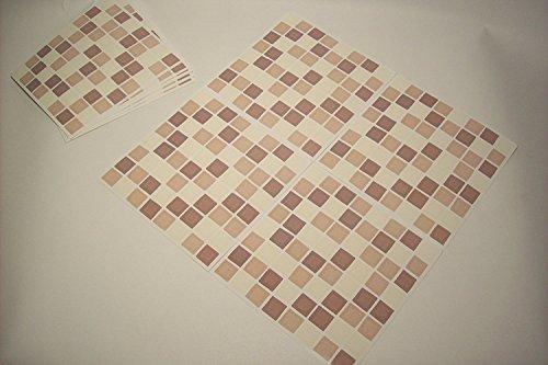 Paper Theme - Adesivi per piastrelle, per bagno e cucina, confezione da 10, motivo mosaico, colore: panna/marrone/caffè