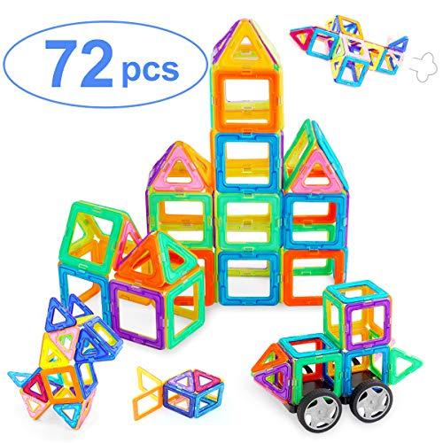 Ranphykx Magnetic Blocks, 72 Pieces Magnetic Building Blocks, Magnetic Tiles Educational Construction